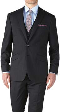 Charles Tyrwhitt Charcoal Slim Fit End-On-End Business Suit Wool Jacket Size 42