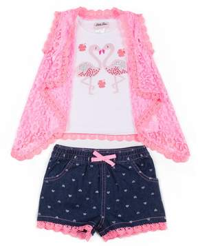 Little Lass Toddler Girl Sequined Flamingo Tank Top, Lace Vest & Heart Jean Shorts Set