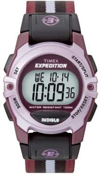 Timex Unisex Expedition Digital CAT Mid-Size Watch, Purple Stripe Nylon Strap