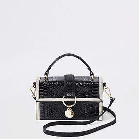 River Island Black croc contrast trim boxy cross body bag