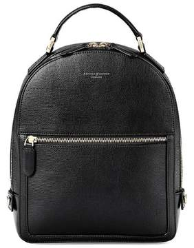Aspinal of London Small Mount Street Backpack In Black Pebble