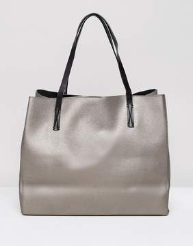 MANGO Metallic Leather Look Tote Bag