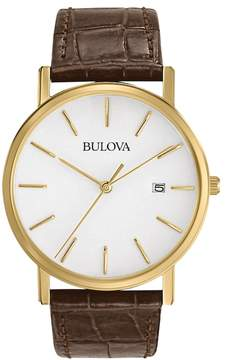 Bulova Men's Leather Watch - 97B100