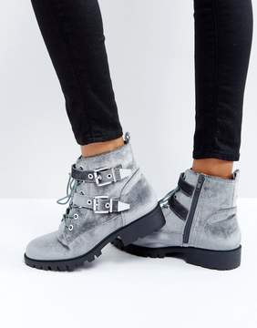 London Rebel Metal Trim Buckle Biker Boots
