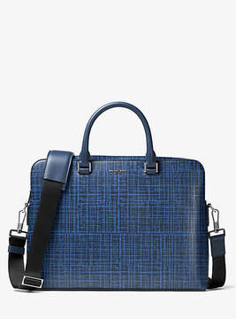 Michael Kors Harrison Crosshatch Leather Briefcase