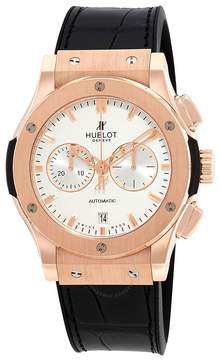 Hublot Classic Fusion Silver Dial Black Leather Band 18 Carat Rose Gold Case Automatic Men's Watch