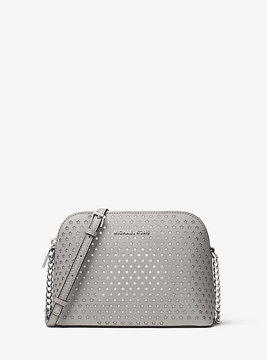 Michael Kors Cindy Perforated Leather Crossbody - GREY - STYLE