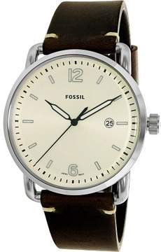 Fossil The Commuter Silver Dial Brown Leather Men's Watch FS5275