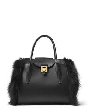 Michael Kors Bancroft Large Fur-Trim Satchel Bag, Black - BLACK - STYLE
