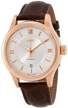 Oris Classic Silver Dial Automatic Men's Leather Watch
