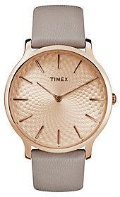 Timex Ladies Rosetone Gray Leather Strap AnalogWatch
