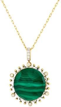 Frederic Sage 18k Yg Medium Round Malachite, Crystal and Diamond on 6 Prongs and on Bale Tivoli Pendant With Chain