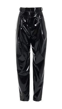Tibi Patent Sculpted Pleat Pants