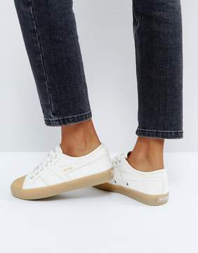 Gola Coaster Sneakers In Off White With Gum Sole