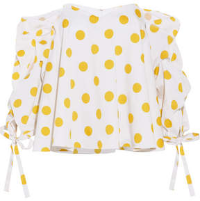 Caroline Constas Gabriella Off-the-shoulder Polka-dot Cotton Top - White