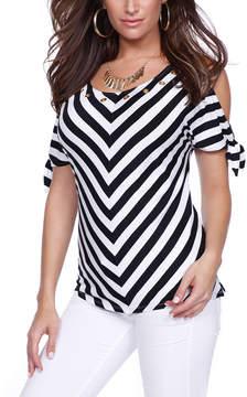 Belldini Black & White Stripe Cold-Shoulder Top - Women