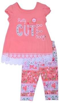 Nannette Little Girls' 4-6X Lace Trim Top and Capri Legging 2-Piece Outfit Set