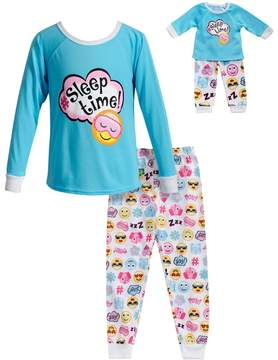 Dollie & Me Girls 4-14 Sleep Time Smiley Face Top & Bottoms Pajama Set