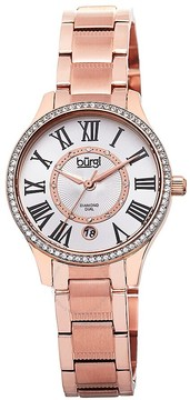Burgi Rose Gold-Tone Stainless Steel Silver-Tone Diamond Dial Ladies Watch