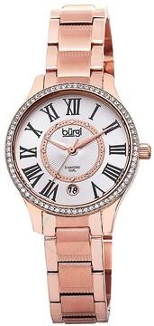 Burgi Rose Gold-Tone Stainless Steel Silver-Tone Diamond Dial Ladies Watch