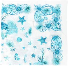 Roberto Cavalli frayed sea creature scarf