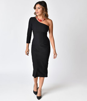 Stop Staring 1950s Style Black One Shoulder Stretch Frenchy Wiggle Dress