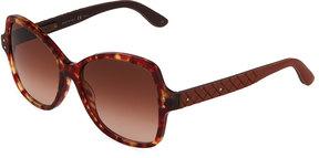 Bottega Veneta Plastic Square Sunglasses, Brown