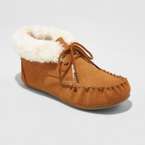 Mossimo Women's Corene Shearling Suede Tie Front Moccasin Slippers Chestnut