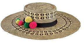 San Diego Hat Company Women's Mixed Woven Paper Hat With Pom Tassel Trim.