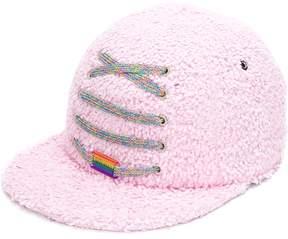 Maison Michel lace-up detail textured cap