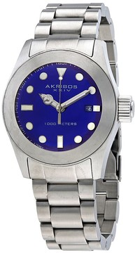 Akribos XXIV Blue Dial Stainless Steel Men's Watch