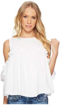 J.o.a. Cold Shoulder Top with Ruffled Sleeve Women's Clothing