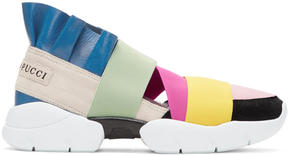 Emilio Pucci Beige and Pink Colorblock Slip-On Sneakers