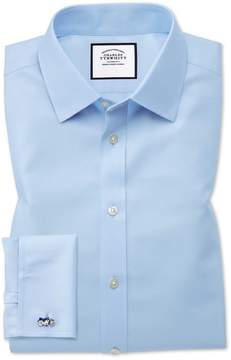 Charles Tyrwhitt Extra Slim Fit Non-Iron Twill Sky Blue Cotton Dress Shirt French Cuff Size 14.5/32