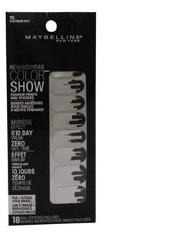 Maybelline Color Show Prints Mirror Effect Nail Stickers, 70, Platinum Nyc.