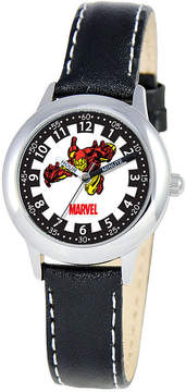 Marvel Iron Man Time Teacher Kids Black Leather Watch