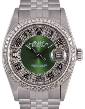 Rolex Datejust Stainless Steel Green Diamond Bull Eye Tuxedo Dial 36mm Mens Watch