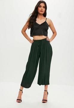 Missguided Khaki Pleated Culottes with Skinny Tie Belt