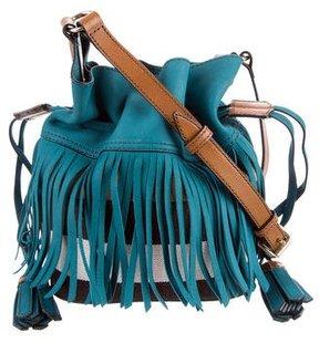Burberry Nova Check Fringe-Trimmed Bag - BLUE - STYLE