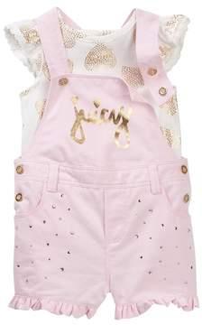 Juicy Couture Heart Foil Print Ruffle Sleeve Top & Shortall Set\n (Baby Girls 3-9M)