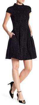 Eliza J Velvet Damask Cap Sleeve Fit & Flare Dress