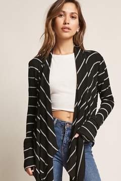 Forever 21 Striped Angle-Front Cardigan