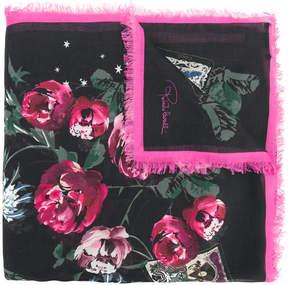 Roberto Cavalli floral fringed scarf