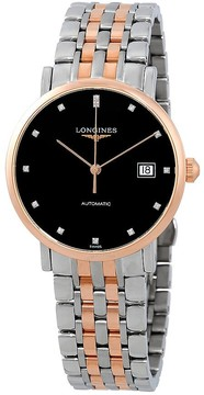 Longines Elegant Black Dial Automatic Men's Two Tone Watch