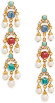 Ben-Amun Women's Crystal and Faux Pearl Drop Earrings