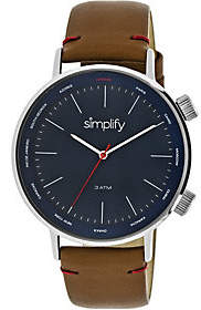 Simplify Light Brown Leather Strap Watch