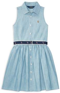 Polo Ralph Lauren Girls' Belted Chambray Shirtdress - Big Kid