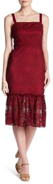 Alexia Admor Shoulder Strap Tie Crochet Lace Knit Midi Dress