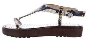 Derek Lam 10 Crosby Embossed Leather Flatform Sandals