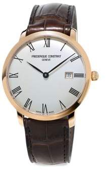 Frederique Constant Slimline Stainless Steel & Leather Strap Watch
